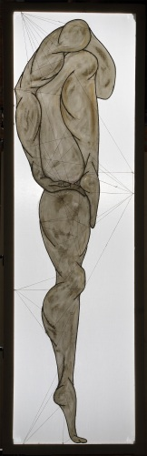 ''I danzatori di gru degli dèi: I.'' 210x67cm opera retroilluminata,giugno 2006