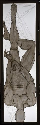 ''I danzatori gimnosofisti degli dèi: I.'' 210x67cm opera retroilluminata,luglio 2006