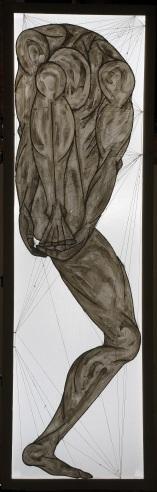 ''I danzatori di gru degli dèi: III.'' 210x67cm opera retroilluminata,luglio 2006