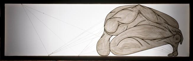 ''I danzatori gimnosofisti degli dèi: III.'' 67x210cm opera retroilluminata,agosto 2006